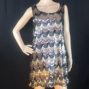 Diosa Dress   Sequined   Black   Gold   Copper